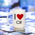 Kubek programisty I love C# duży 450 ml