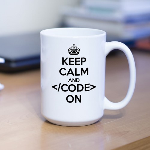 Kubek programisty Keep Calm and Code on duży 450 ml