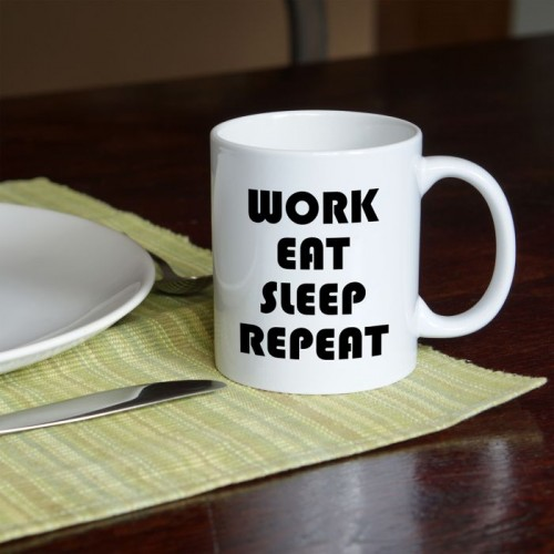 Work Eat Sleep Repeat kubek standardowy 330 ml