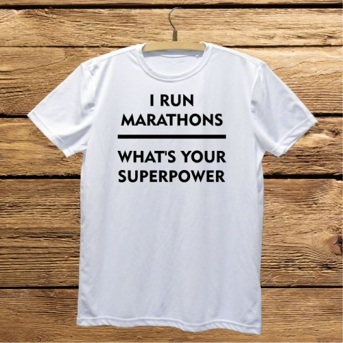 Męska koszulka do biegania z nadrukiem - I run marathons. What's your superpower